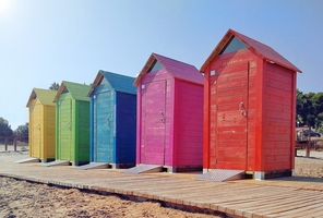 Spanish beach huts