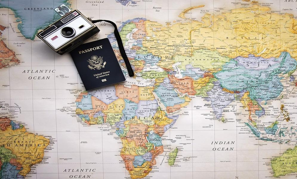 Passport, Map and camera.